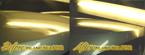 Paintless Dent removal hood dent